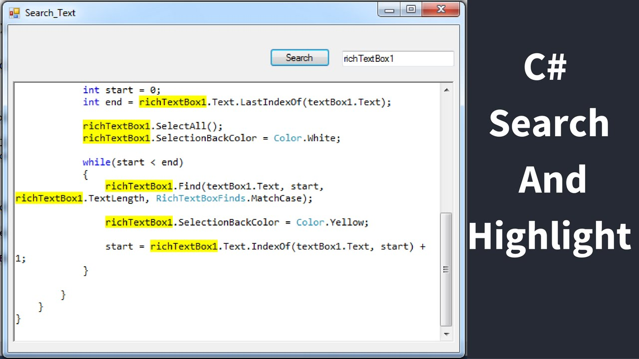 C# - How To Search And Select Text In RichTextBox From TextBox Using C# [  with source code ]
