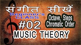 Basic Music Theory Lessons for Beginners in Hindi 02 Octave, Step/Tone/Semitone, Chromatic Order