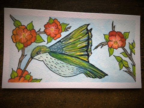 Pen and Watercolor:  Hummingbird