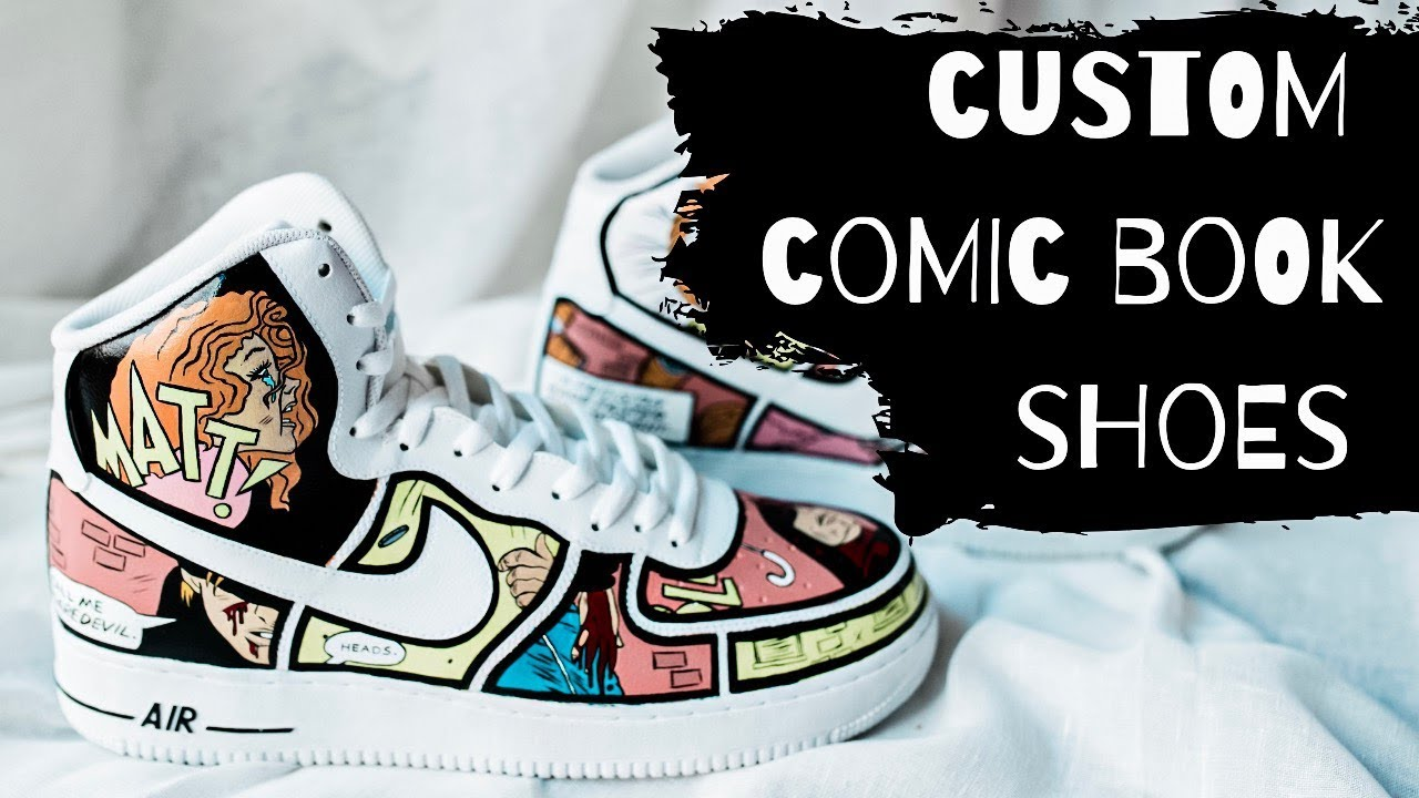 abrelatas Horizontal Romance  Custom Comic Book Shoes | Nike Air Force 1 Painting/Customization - YouTube