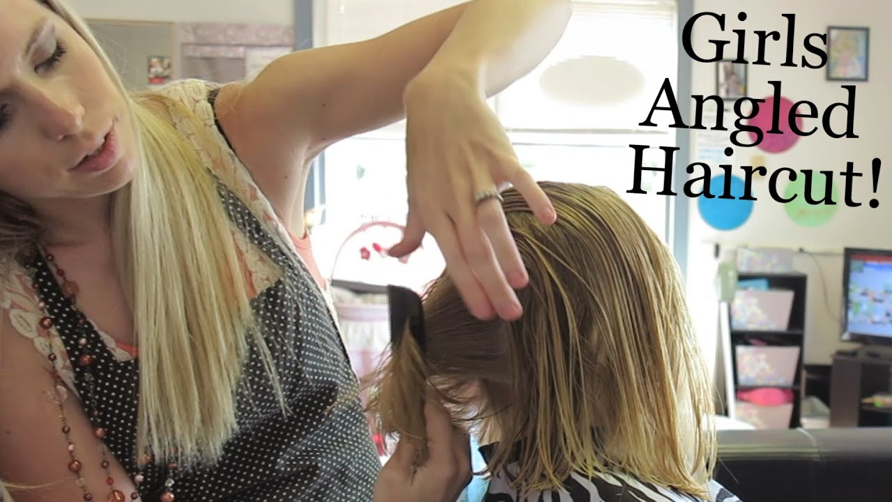 Girls Angled Bob Haircut! Kinz 7th Haircut At 4 Years Old
