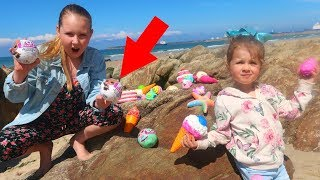 LOL Surprise Dolls Toy Hunt Challenge at the Beach -  Ruby Rube and Bonnie