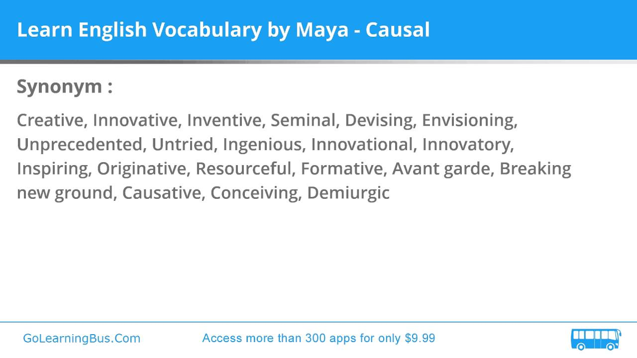 Synonym Innovativ Learn English Vocabulary By Maya Causal