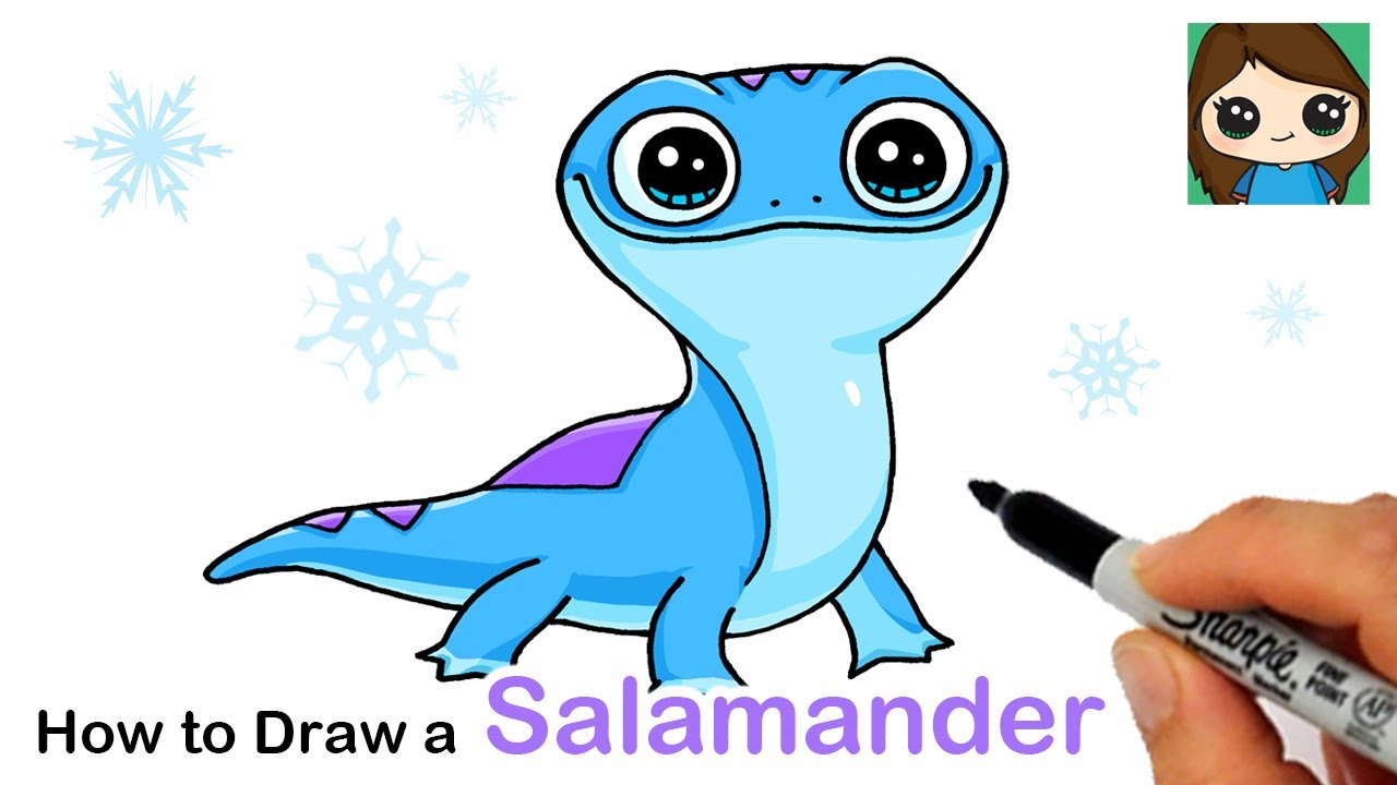 How To Draw Bruni The Fire Salamander Disney Frozen 2 Youtube