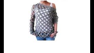 🔔 вязаная крючком ❤ КОФТА СЕТКА ❤ Crochet grid sweater ➦ blouse ❤ ВЯЗАНИЕ КРЮЧКОМ 🔒