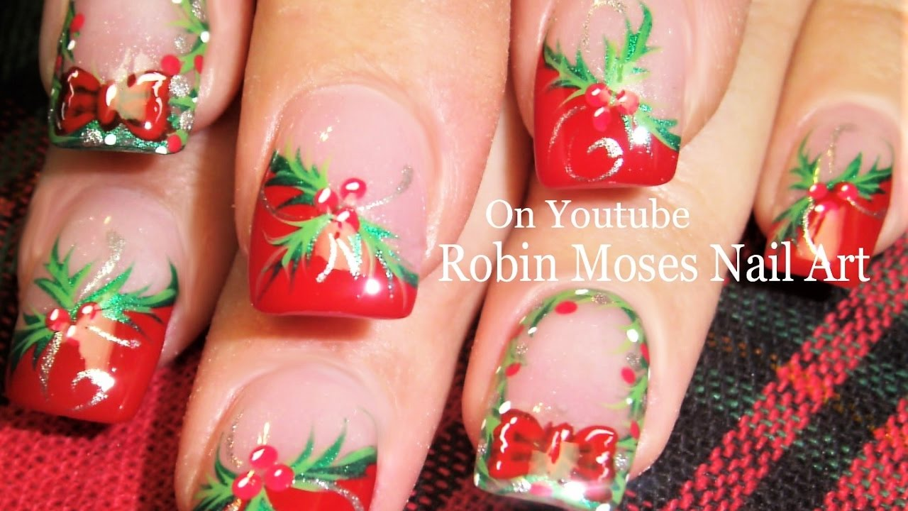 Easy Christmas Nails Diy Holly And Xmas Wreath Nail Art Tutorial