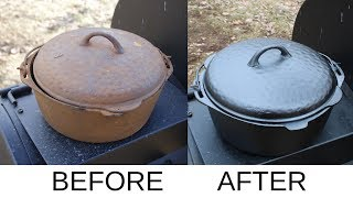 Restoring A Cast Iron Dutch Oven The Easy Way!!
