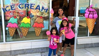 Kids buying ice cream from ice cream store in real life