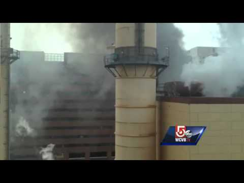 Uncut: Thick, black smoke comes from Cambridge building