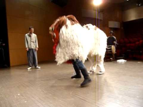 Leigh doing korean lion dance!