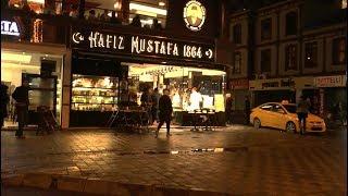 Night walk around Istanbul. Aksaray-Laleli-Sultanahmet-Sirkeci-Galata Bridge.