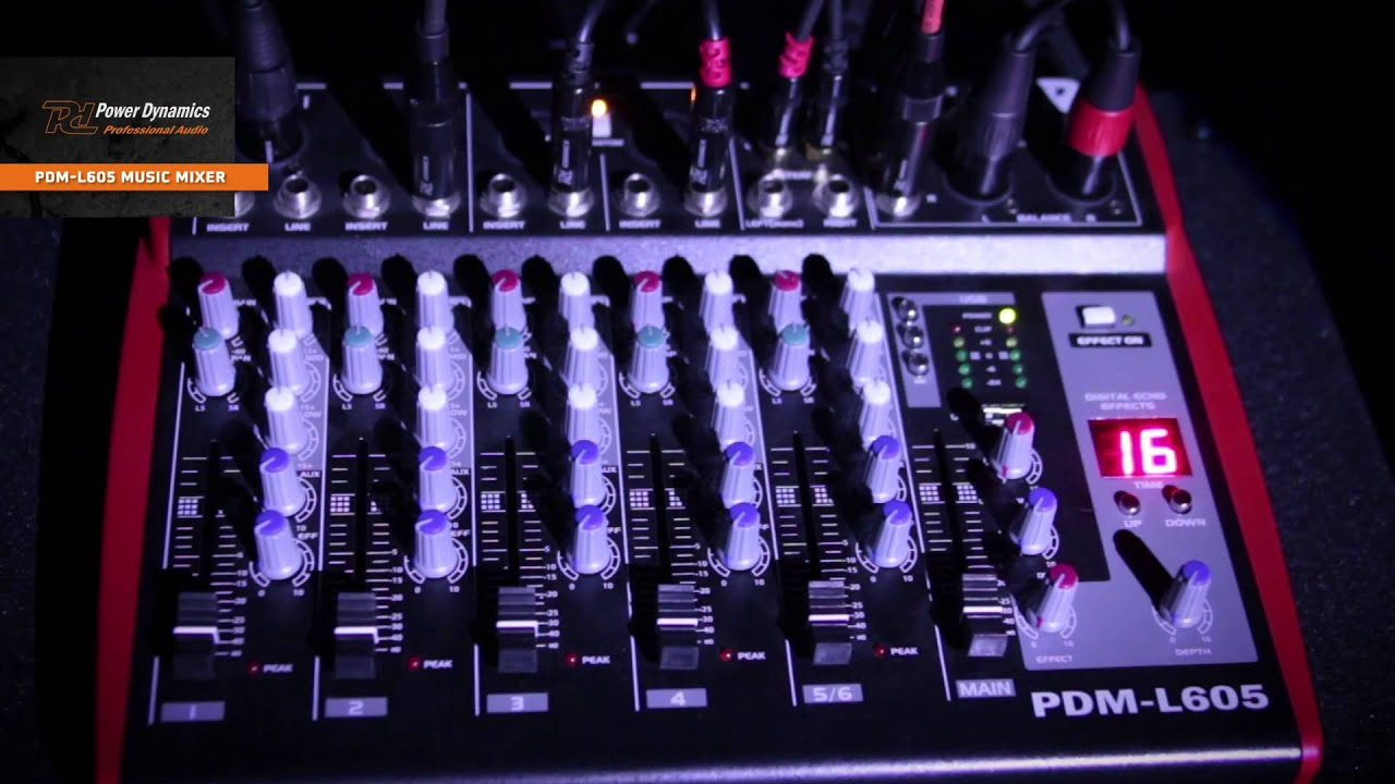 Power Dynamics Pdm L605 Music Mixer 6 Channel Mp3 Echo 171168 Youtube Audio