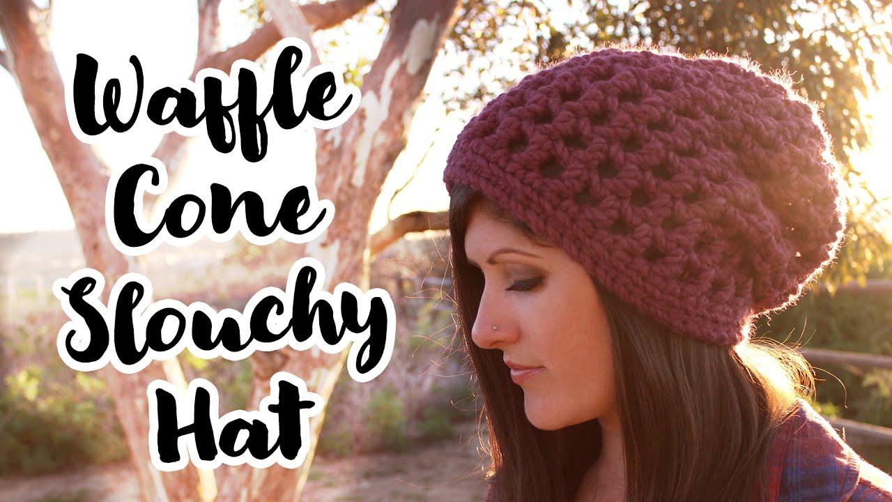 af3f54129602c5 Crochet Pattern   Waffle Cone Slouchy Hat - YouTube