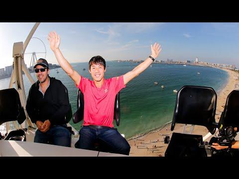 Kei Nishikori Rides the Flying Cup in Dubai - Dubai Duty Free Tennis Championships