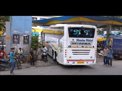 Superb Display Of Wonderful Tag Axle Operation of 14.5M Multi Axle Scania Bus In Mumbai !!!