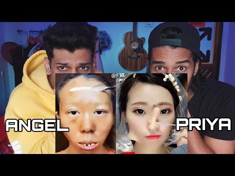 CRAZY VIRAL ASIAN MAKEUP TRANSFORMATION | REACTION | ANGEL PRIYA EDITION