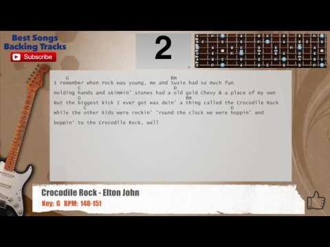Crocodile Rock - Elton John Guitar Backing Track with chords and lyrics