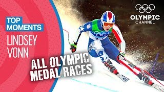 Lindsey Vonn - ALL Olympic Medal Races in Full Length | Top Moments
