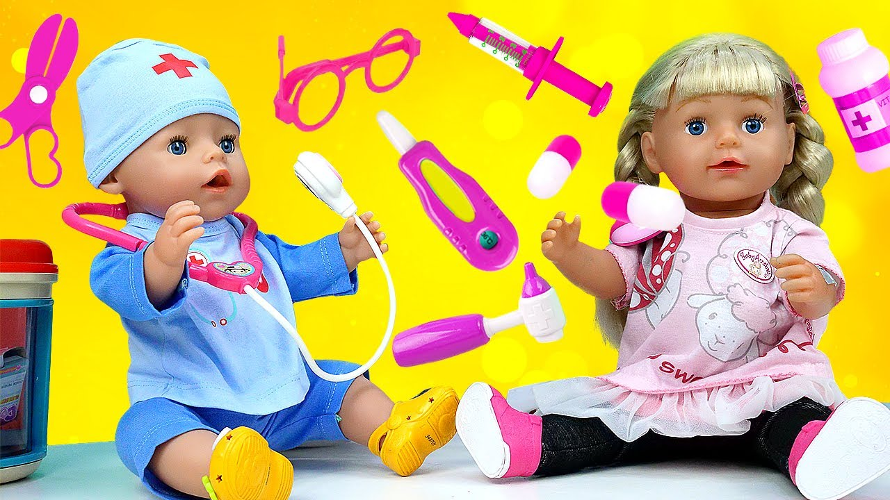 Baby doll and doctor baby Annabell doll - Kids pretend play with First aid kit for baby dolls & toys