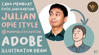 Cara membuat foto jadi Kartun | Julian Opie Style | Minimalistic Avatar | Adobe Illustrator Draw