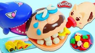 Toy Shark Steals Mr. Play Doh Head's Play Dough Spaghetti & Dumplings!
