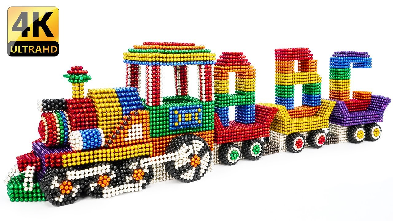 DIY - How To Build ABC Train From Magnetic Balls - Extremely Satisfying And Relax - Magnet Balls