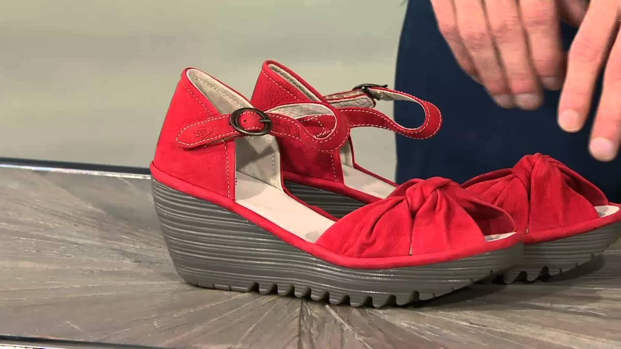 9215ebf04443 Fly London Leather Peep-toe Adj. Ankle Strap Sandals - Yoel on QVC ...