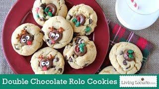 Double Chocolate Chip Rolo Christmas Cookies  | Living Locurto Fun Food Recipe