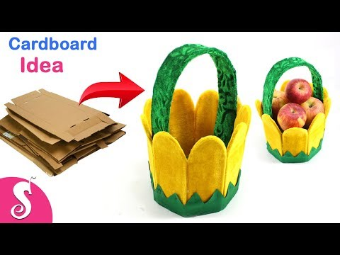 DIY Basket Idea | Make Fruit Basket Recycling Cardboard for Home Decor | Sonali Creations 179