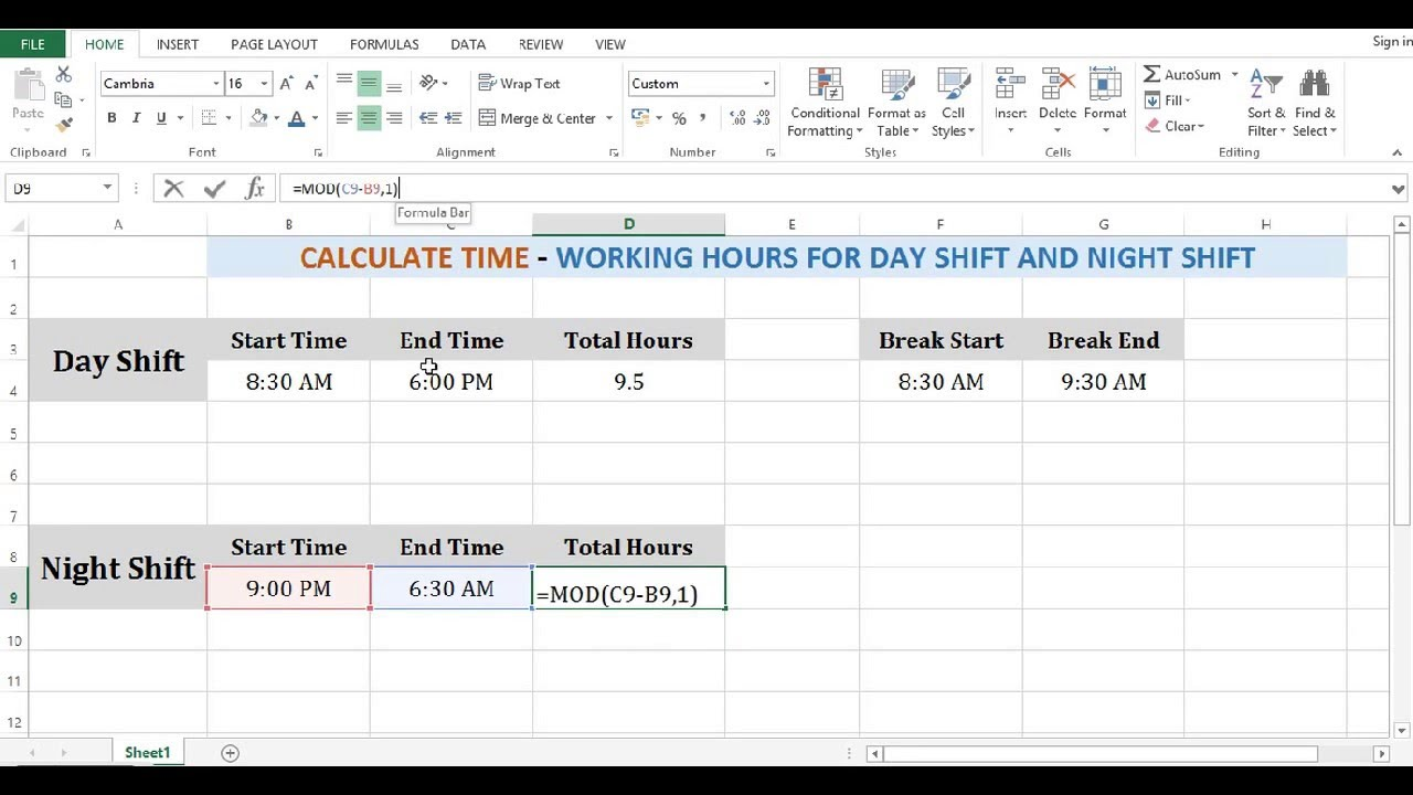 Calculate working hours in excel 2013 - Youtube