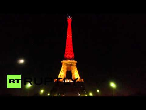 France: Eiffel Tower lit up in colours of Belgian flag after Brussels attacks