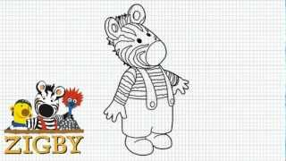 How to Draw Zigby the zebra from the Zigby Cartoon Series -- Video