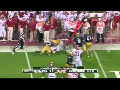 AJ McCarron (QB Alabama) vs Notre Dame 2012