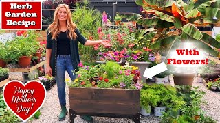 Beautiful Herb Garden Recipe with Flowers | Ergonomic Garden for Mom | Raised Container//Garden Farm