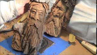 Wood Spirit Carving Tips Before Detailing Hair.