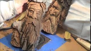 Wood Spirit Carving Tips Before Detailing Hair.
