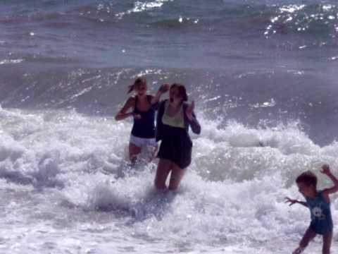 Emily falling over in Brighton Beach.