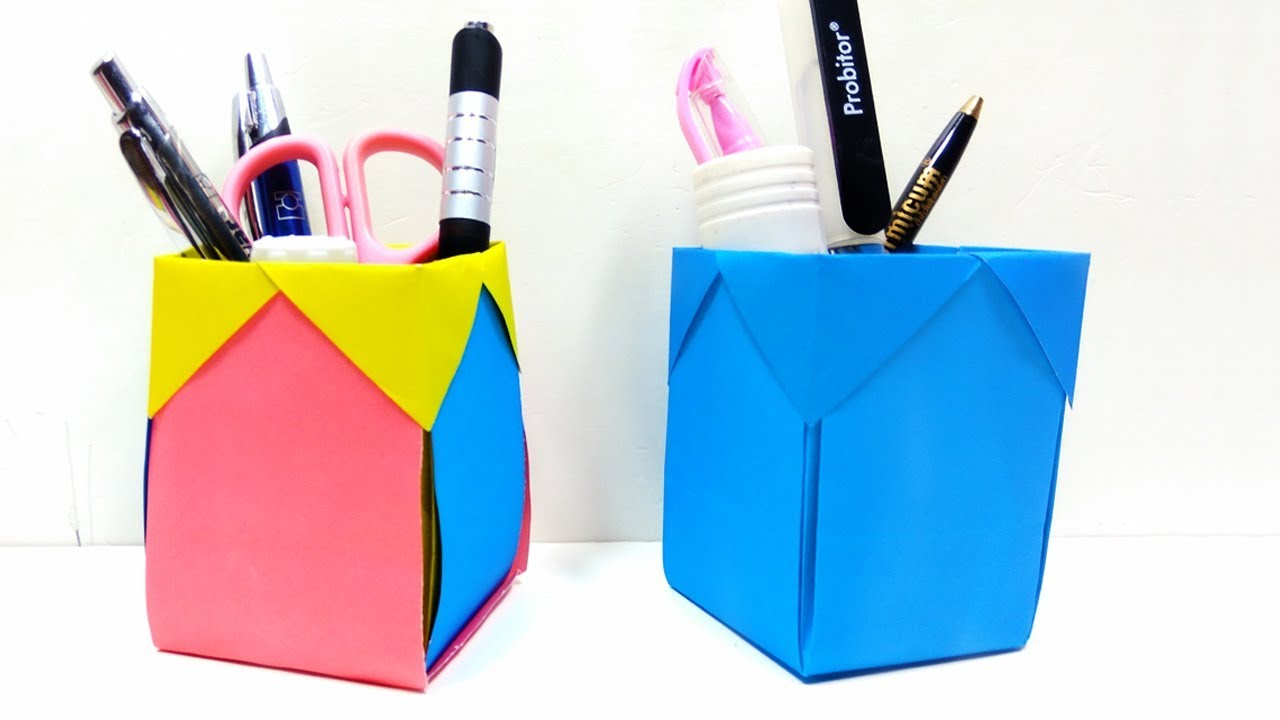 How to make pen stand back to school diy paper desk Diy pencil holder for desk