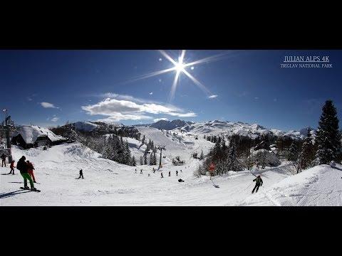 Julian alps 4K Filming Vogel ski area, Slovenia