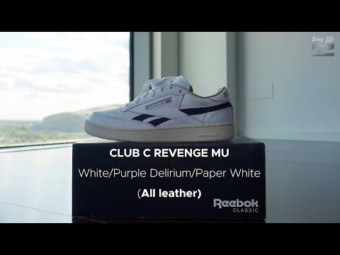Reebok Club C Revenge MU White/PurpleDelirium/PaperWhite (Similar White/Gold Metallic/Forest Green)