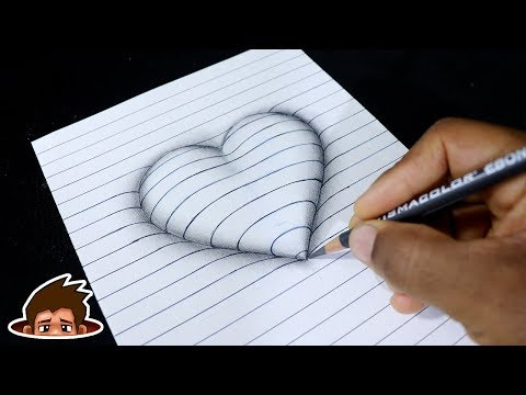 How To Draw 3D Embossed Heart On Paper - Corazón En Relieve - Art For Kids