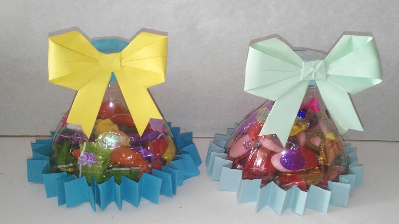 Como hacer dulceros con botellas de plastico - Como hacer manualidades ...