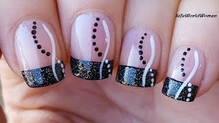NEW YEAR'S EVE BLACK FRENCH MANICURE / Sparkle Party Nails