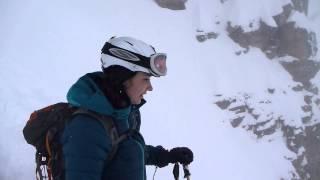 Maria skiing down Surprise Pass