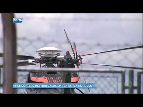Helicóptero destrói casas em tentativa de pouso