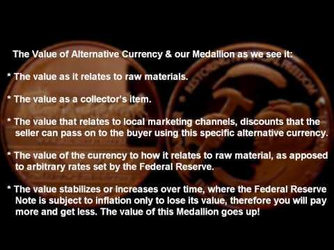 Alternative Currency Copper Bullion Medallion