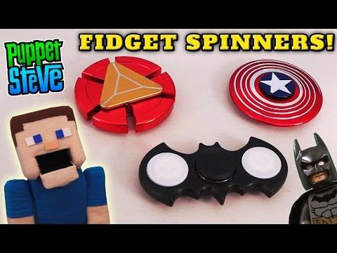 Fidget Spinner SuperHero Batman Iron Man Captain America Toy Hand Unboxing Puppet Steve Tricks Hack
