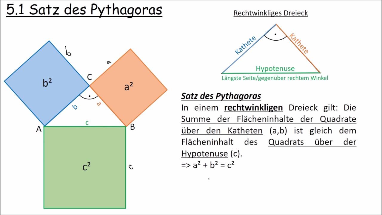 5 1 satz des pythagoras youtube. Black Bedroom Furniture Sets. Home Design Ideas