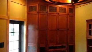 Custom Cabinets - Wood Slab bartop with dovetail keys and live edge