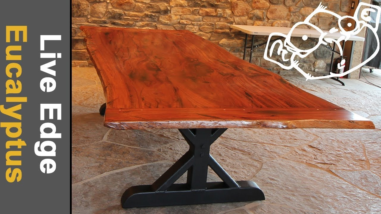 Live Edge Trestle Table With Chainsaw Milled Eucalyptus And Custom Metal  Base